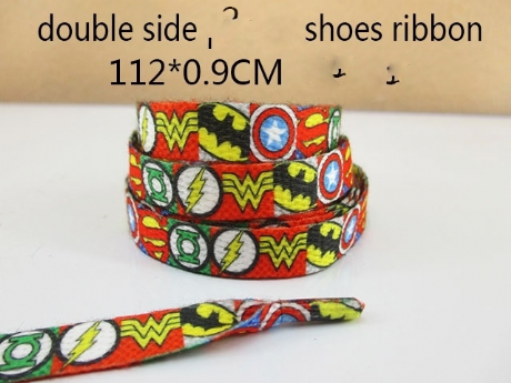 1 PAIR OF SUPERHEROES DOUBLE SIDED PRINTED SHOE LACES LOOK